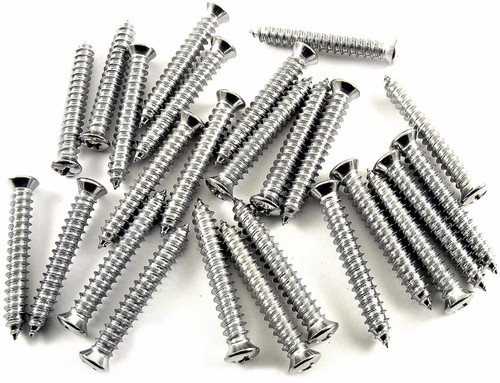 "Chrome #10 x 1-1/4"" Phillips Oval Head Trim Screws #6 Head (Qty 25) #2036"