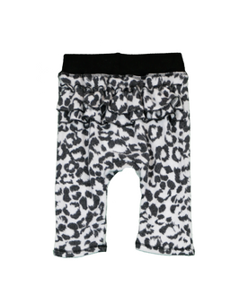 LEOPARD PRINT RUFFLE BACK SWEAT PANTS - BACK VIEW