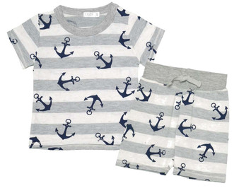 ANCHOR PRINT SHORT SLEEVE AND BOARD SHORT