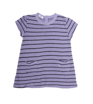 LAVENDER NAVY STRIPES SHORT SLEEVE TWO POCKET DRESS