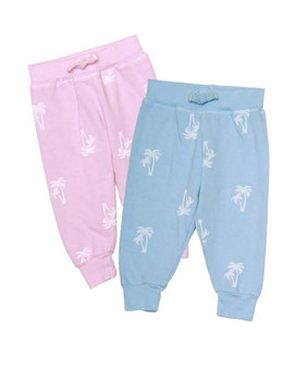 P PINK AND B BLUE WHITE PALM TREE PRINT BACK POCKET SWEAT PANTS WITH RIB CUFF