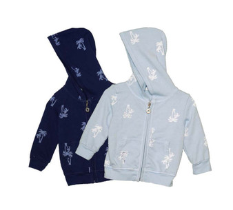 NAVY BBLUE LONG SLEEVE WHTIE PALM TREES PRINT HOODED ZIP-UP JACKET
