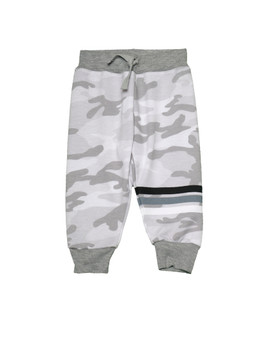 WHITE CAMO PRINT SWEAT PANTS WITH BACK POCKET AND STRIPES