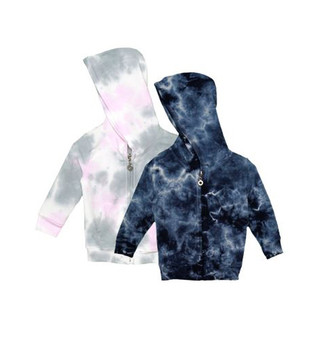 PGW NAVY TIE DYE LONG SLEEVE HOODED ZIPPER JACKET WITH POUCH