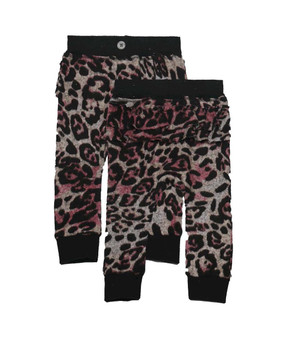 LEOPARD RUFFLE BACK PANTS