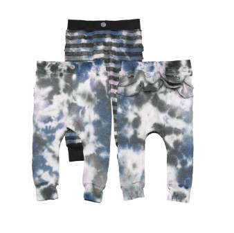 WITH AND WITHOUT BLACK STRIPES TIE DYE PRINT RUFFLE BACK SWEAT PANTS