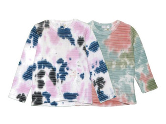 NPG SBO TIE DYE MULTI STRIPES LONG SLEEVE  CREW TEE