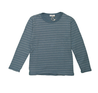 BLUE STONE MULTI STRIPES LONG SLEEVE CREW TEE