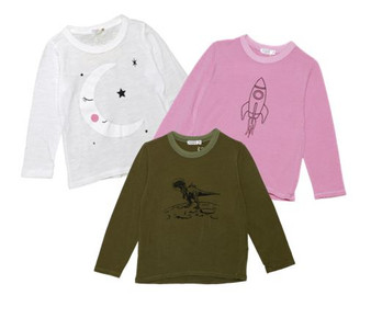 "WHITE ""SLEEPING MOON"" DUSTY PINK ""ROCKET SHIP"" OLIVE ""DINO"" LONG SLEEVE CREW TEE"