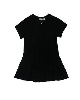 BLACK SHORTS SLEEVE RUFFLE ONESIE DRESS
