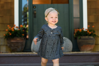 CHARCOAL LONG SLEEVE BLACK HEARTS PRINT DRESS WITH BUTTONS