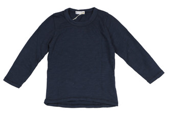NAVY COTTON LONG SLEEVE CREW TEE