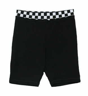 BLACK BOARD SHORTS WITH CHECKER CUFFS