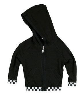 BLACK LONG SLEEVE HOODED ZIPPER JACKET WITH CHECKER BAND