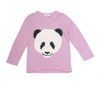 DUSTY PINK PANDA SCREEN PRINT LONG SLEEVE CREW TEE