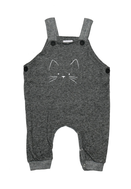 CHARCOAL BOYS STRAPPED CAT FACE SCREEN PRINT OVERALLS WITH BUTTONS