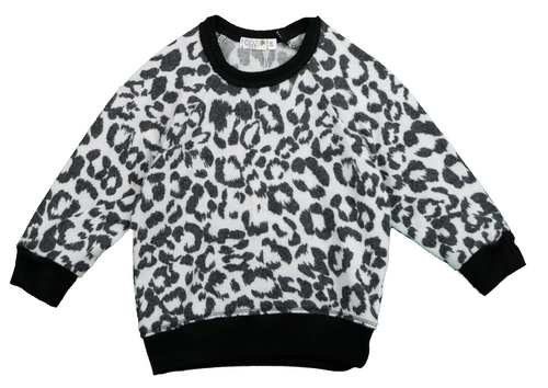 LEOPARD PRINT LONG SLEEVE CREW WITH CONTRAST RIB