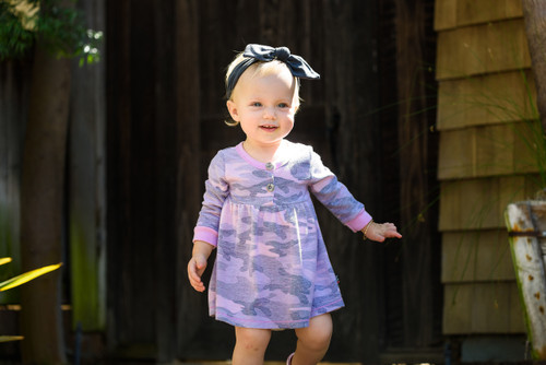 LONG SLEEVE CAMO PRINT DRESS WITH BUTTONS