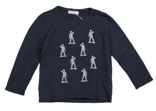 NAVY HEATHER LONG SLEEVE ARMY SCREEN PRINT CREW TOP