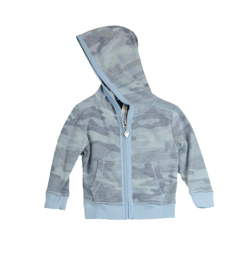 BABY BLUE CAMO FRENCH TERRY LONG SLEEVE HOODED ZIPPER JACKET IWTH CONTRAST RIB