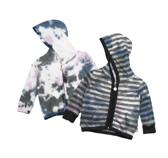 NPG WITH OR WITHOUT BLACK STRIPES RUFFLE BACK HOODED JACKET