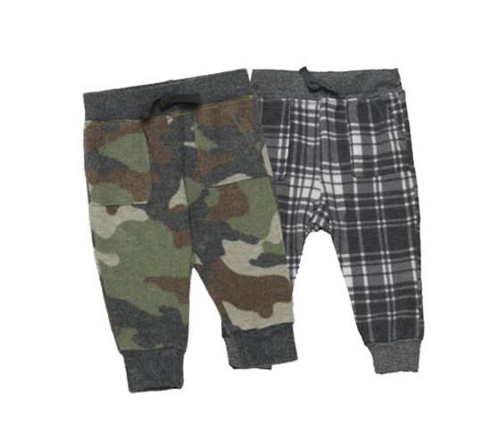 CAMO AND GREY PLAID CARGO PANTS WITH CONTAST CUFFS