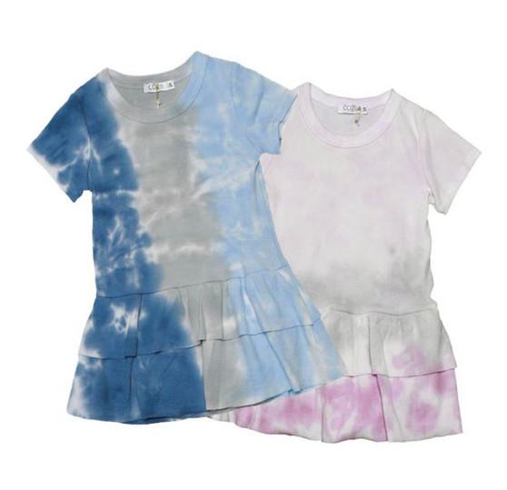 NGB (NAVY GREY BLUE) & PGF (PINK GREY FUCHSIA) TIE DYE SHORT SLEEVE RUFFLE ONESIE DRESS
