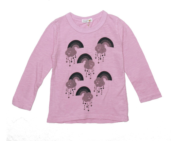 DUSTY PINK LONG SLEEVE GREY RAINBOW SCREEN PRINT CREW TEE