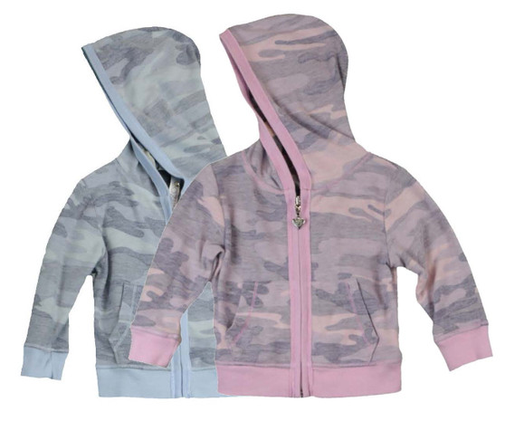 LONG SLEEVE FRENCH TERRY CAMO PRINT HOODED ZIP-UP JACKET WITH POUCH