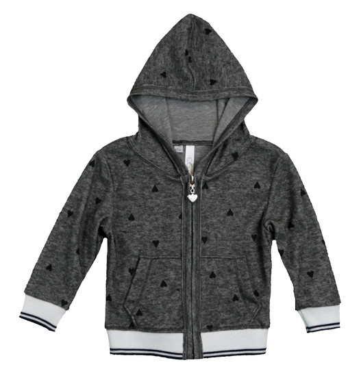 CHARCOAL LONG SLEEVE BLACK HEART PRINT HOODED ZIP JACKET WITH CONTRAST RIB