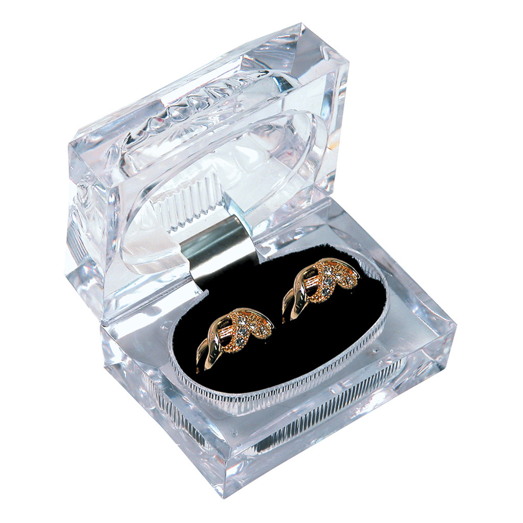 """Crystal clear Double ring box, 2 1/2"""" x 1 3/4"""" x 2""""H"""
