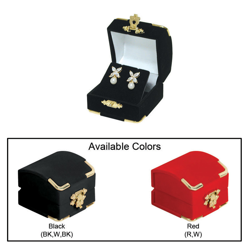 """Flocked Velour Clasped Earring Box , 2 1/8"""" x 2 1/8"""" x 1 3/4""""H , Choose from various Color"""
