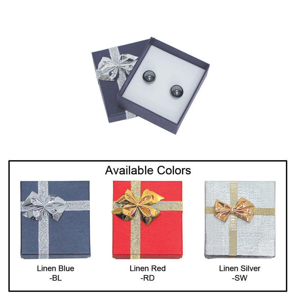 """Linen bow tie earring box , 2"""" x 2 1/8"""" x 7/8"""" , Choose from various Color"""