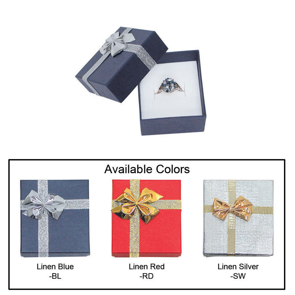 """Linen bow tie ring box , 2"""" x 2 1/8"""" x 1 3/8"""" , Choose from various Color"""
