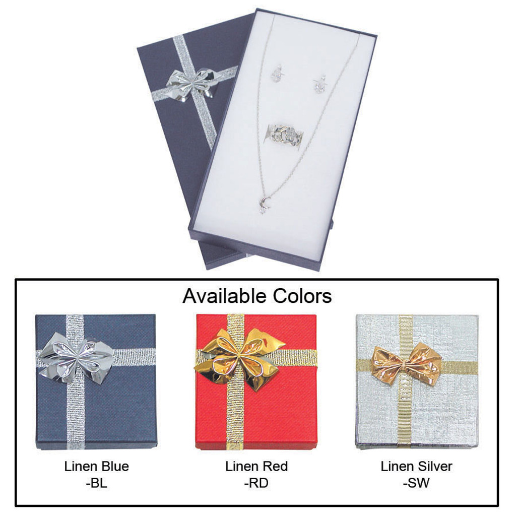 """Linen bow tie earring/necklace/ring box , 3 3/8"""" x 6 1/4"""" x 1"""" , Choose from various Color"""