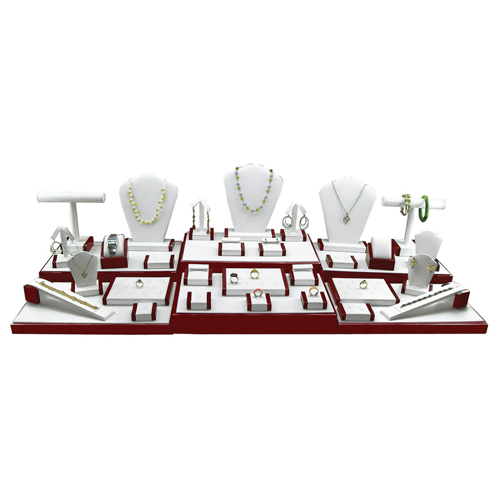 "35-Pieces Display Set , 44 1/4""W x 16 1/2""D x 10 3/4""H, White Faux Leather With Rosewood Trim"