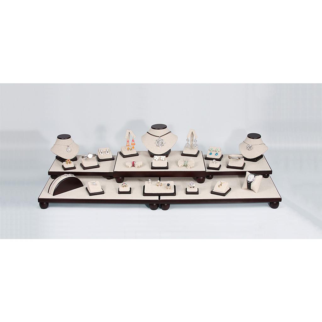 "26-Pieces Linen with Dark Walnut Wood Trim, 40 1/4"" x 16"" x 9 3/4""H"