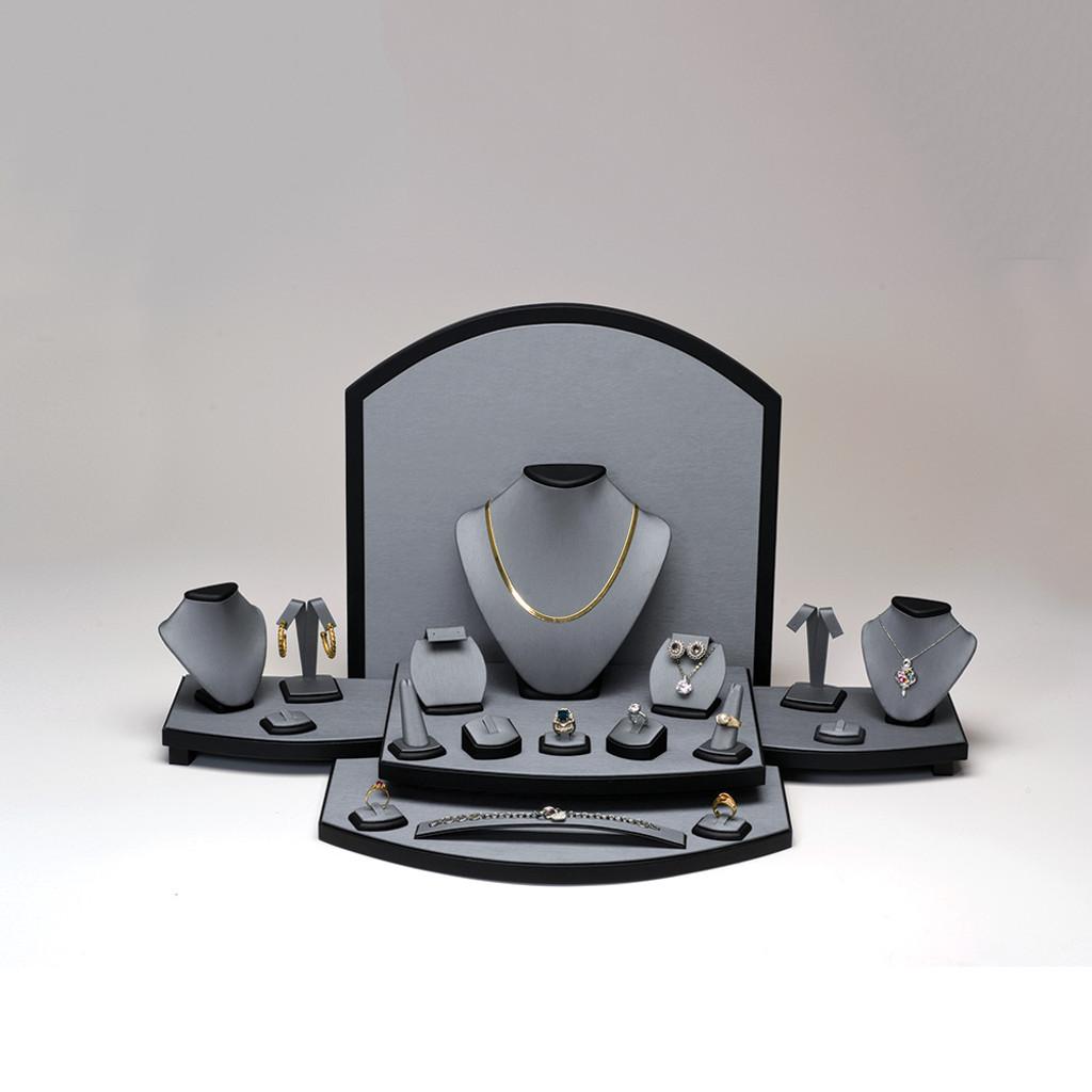 "26-Pieces Steel Grey with Black Trim Faux Leather Set, 27 3/4"" ~ 33 1/2"" x 15 1/2"" x 13 1/2""H"