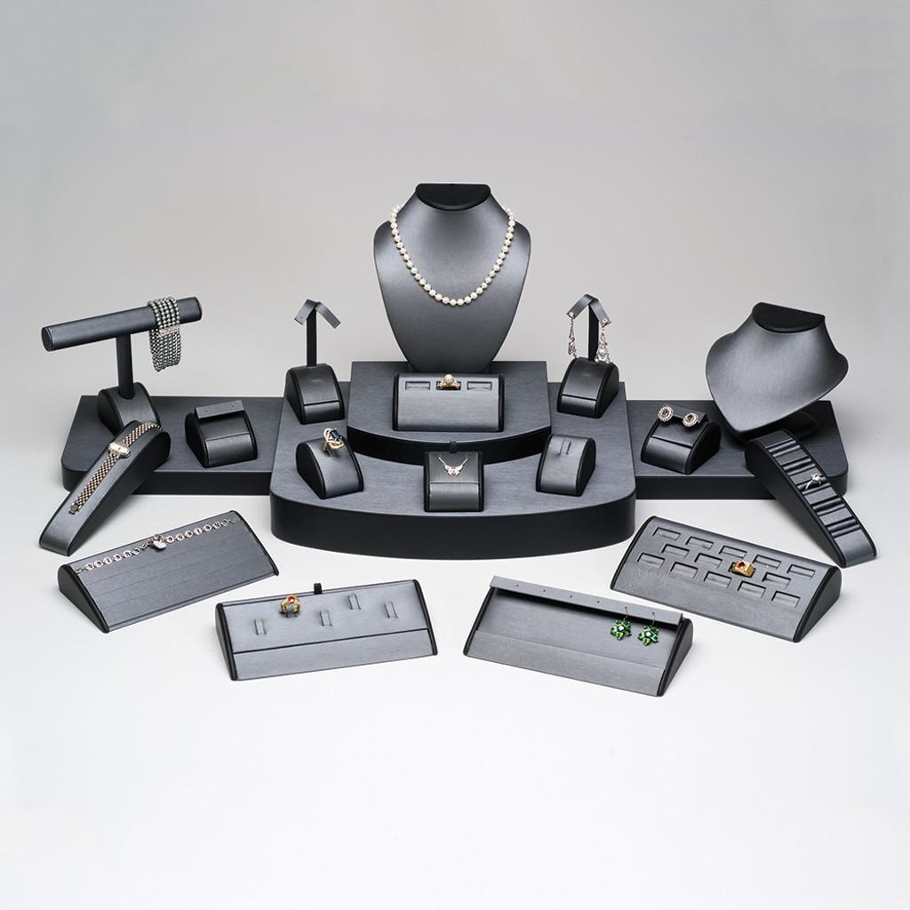 "21-Pieces Steel Grey with Black Leather Trim Set, 37"" x 18"" x 11 5/8""H"