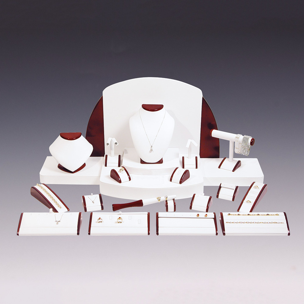"""23-Pieces White Faux Leather with Glossy Rosewood Trim Display Set, 40"""" x 18"""" x 16""""H"""