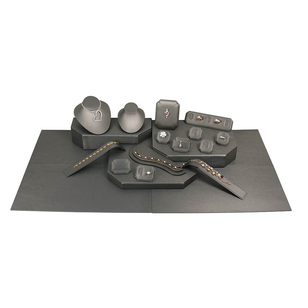 """22-Pieces Display set with carry bag, Steel Grey Leather ,30"""" x19"""" x 8""""H"""