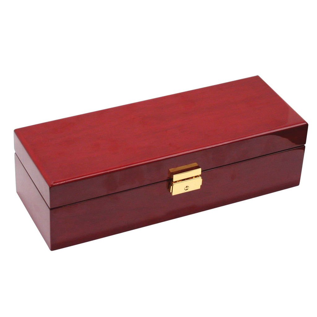 """Rosewood /Beige Leather 5-Pillow Watch Case, 11 7/8"""" x 4"""" x 3 1/4""""H"""