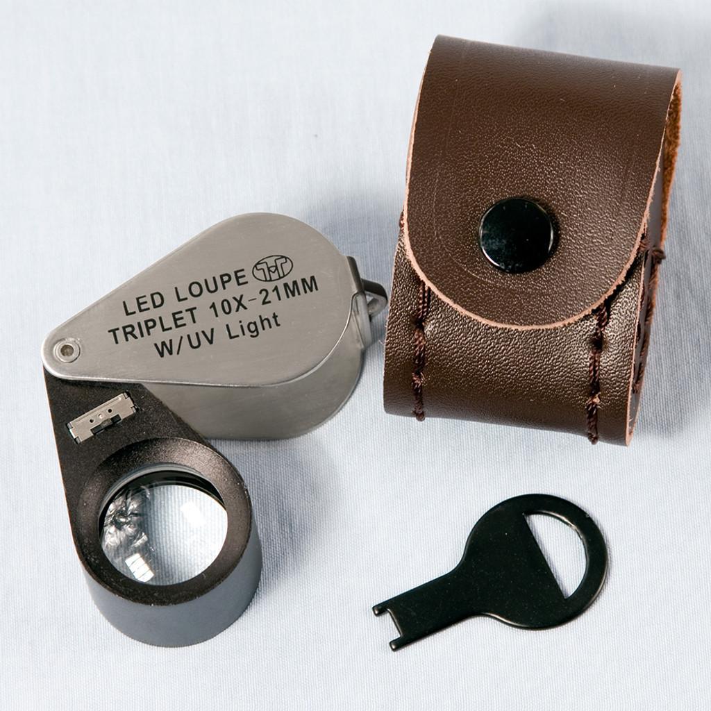 Triplet Glass Lens Loupe 6 LED/UV Lighted , 21 mm, 10X, Silver-Black