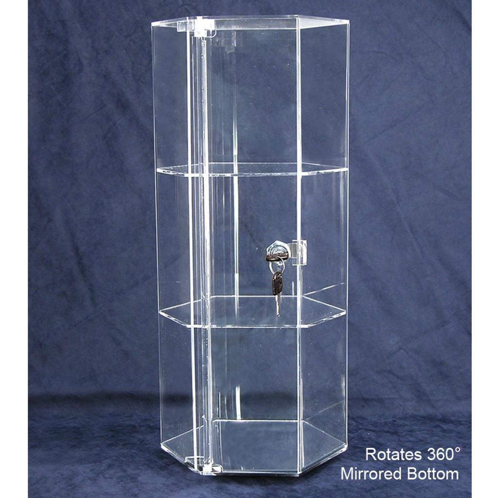 "Rotating Hexagon Acrylic Showcase (2 shelves), 8 1/4"" Dia x 18 7/8""H"