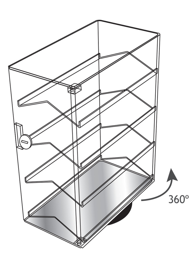 """Revolving Acrylic Case with 4 Removable Shelves, 13 1/2"""" x 7 3/8"""" x 17 3/4""""H"""