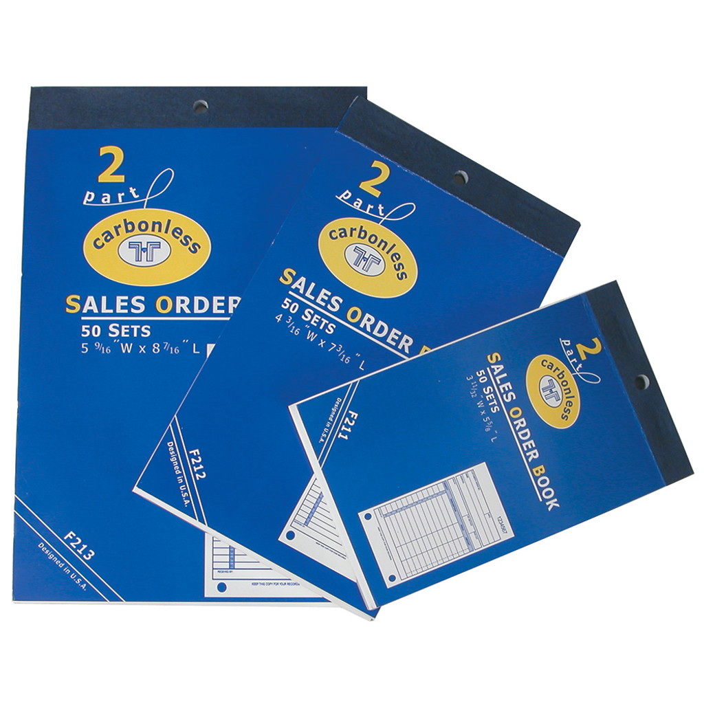 """Sales Order Books, 50 sets 2-Part Carbonless, White-Yellow, 4 3/16"""" x 7 3/16"""""""