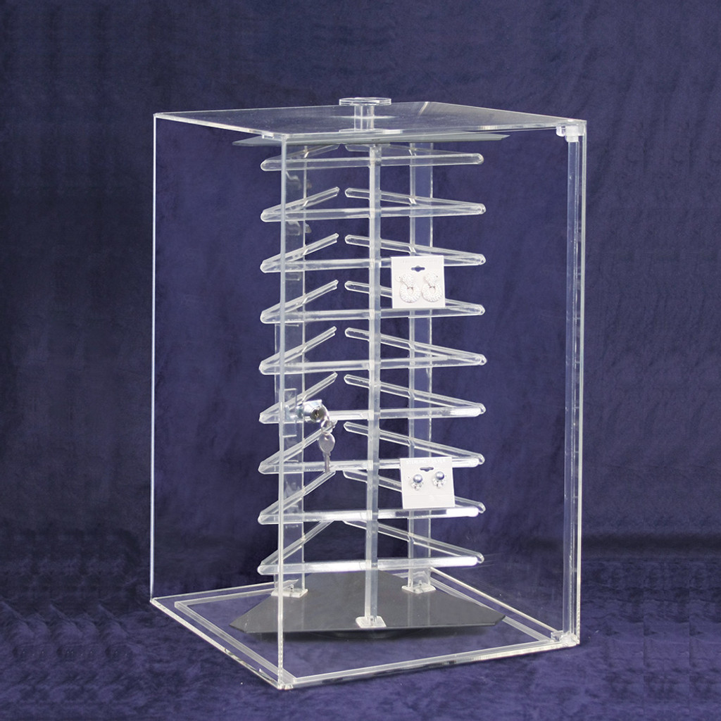 """Acrylic Revolving Earring Display Case , Holds 108 pcs. 2"""" Cards, 12 1/2"""" x 12 1/2"""" x 21 1/2""""H"""