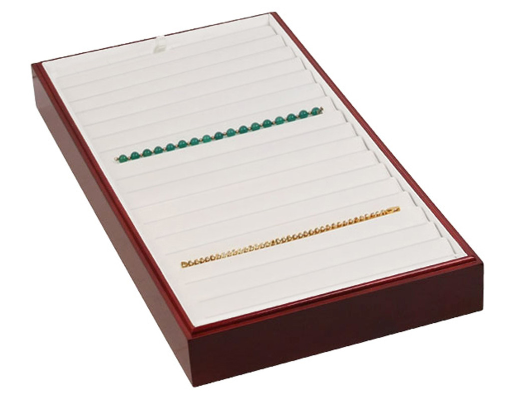 """Stackable 18 Bracelet Tray - Rosewood with White Leather,18"""" x 9 1/2"""" x 1 7/8""""H"""