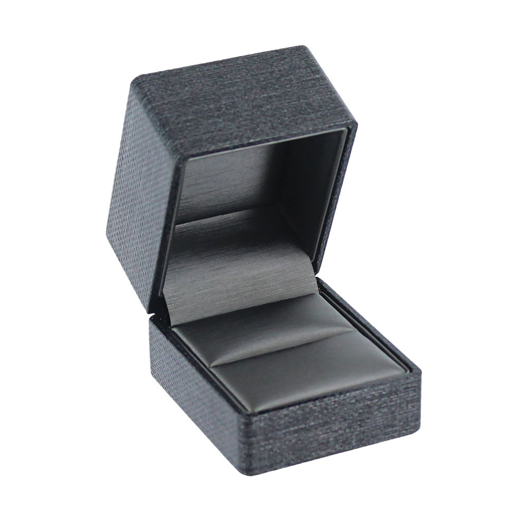 "Premium Ribbon Ring box-Grey 2 1/8"" x 2 1/2"" x 2""H"