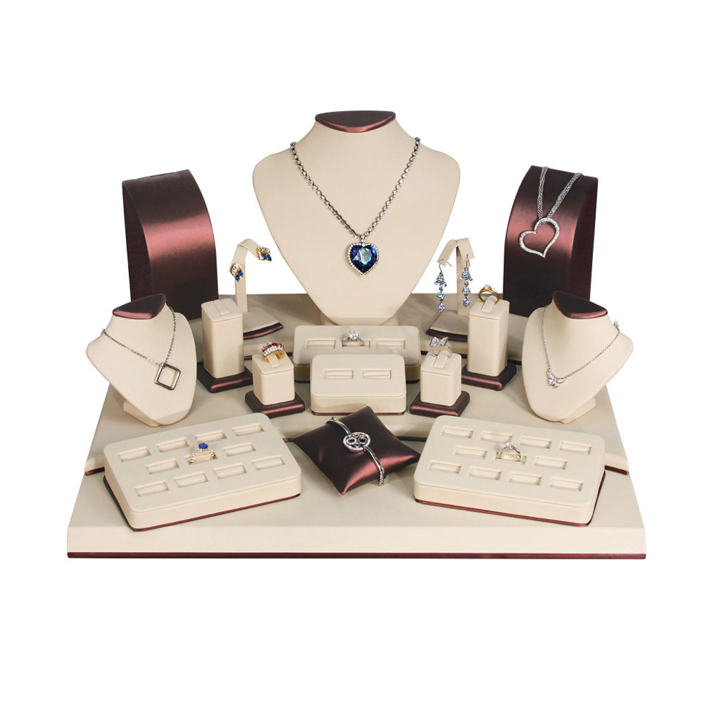 Beige Faux Leather 19-Piece Jewelry Display Set (SET79-L30)